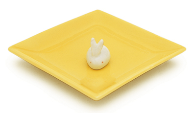 陶器香皿&ウサギ香立 (イエロー)