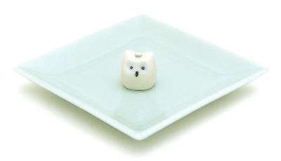 陶器香皿&ウサギ香立 (ミミズク)