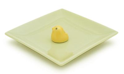 陶器香皿&ヒヨコ香立 (ミントグリーン)