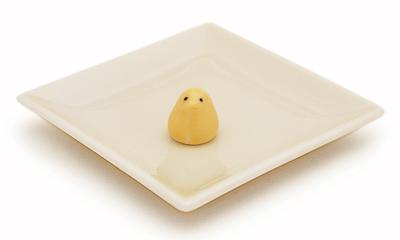 陶器香皿&ヒヨコ香立 (アイボリー)