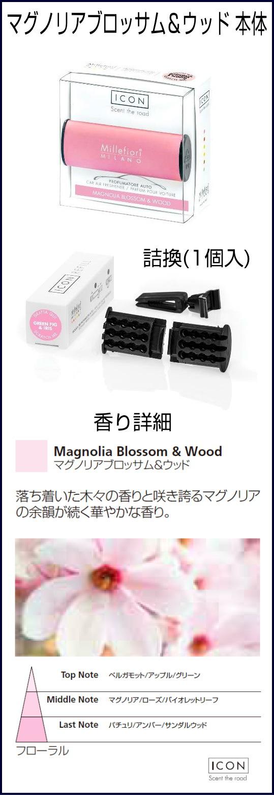 マグノリアブロッサム&ウッド-ミッレフィオーリ Millefiori お車用 芳香剤 ICON