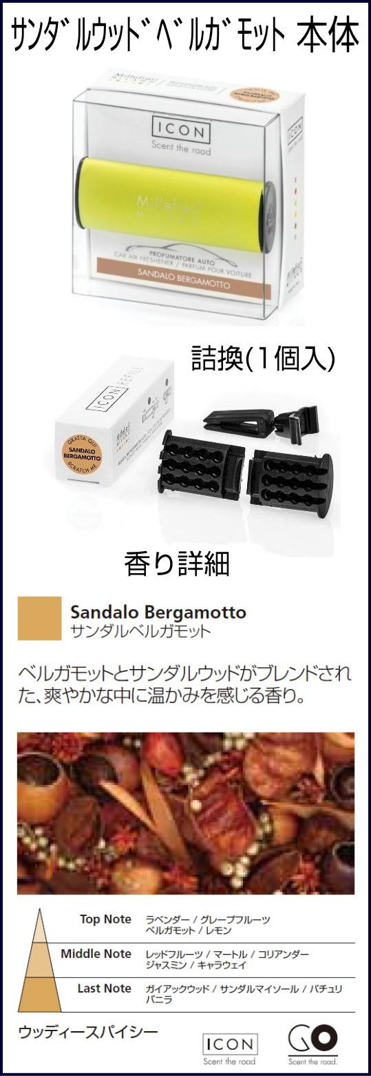 サンダルベルガモット-ミッレフィオーリ Millefiori お車用 芳香剤 ICON
