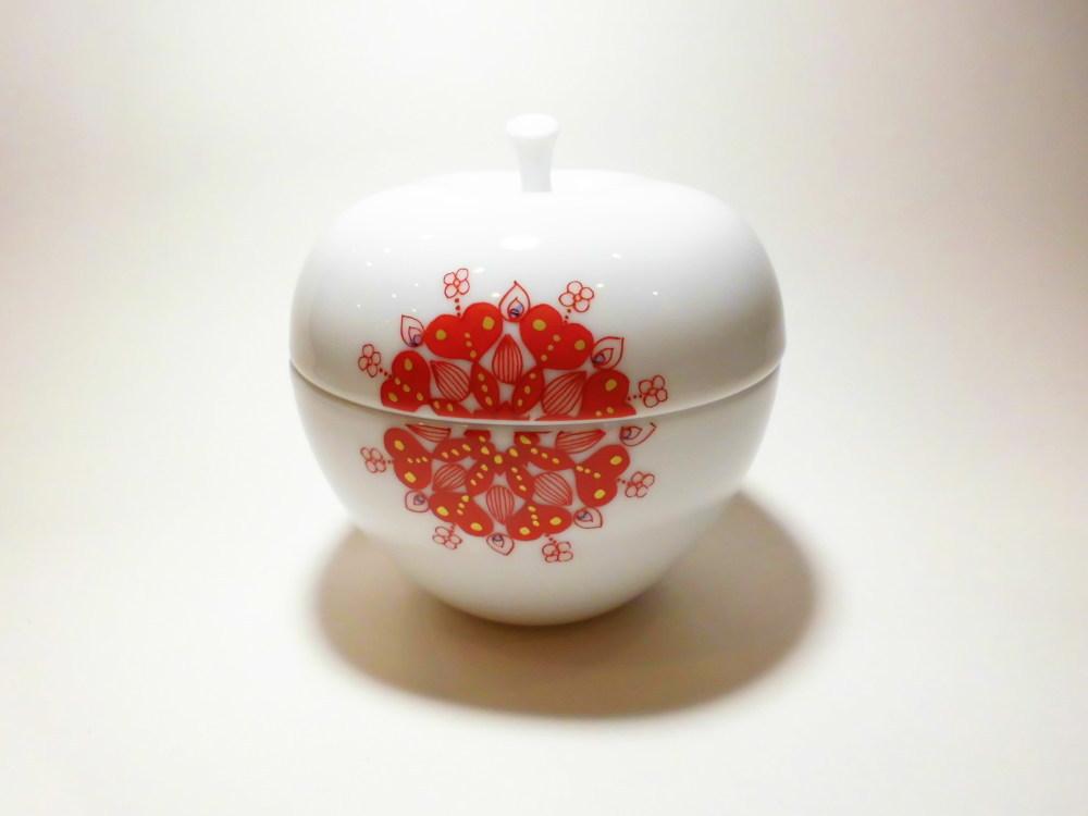 九谷焼 作家香炉 りんご 赤