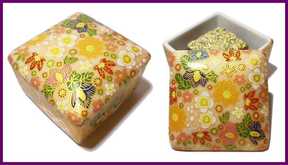 伝統工芸九谷焼 G-CUBE 香箱 香り箱 花詰 白色