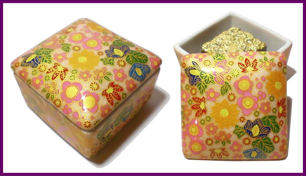 伝統工芸九谷焼 G-CUBE 香箱 香り箱 花詰 ピンク色