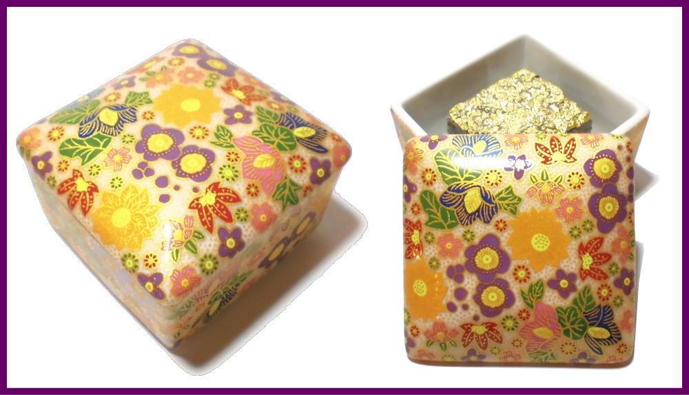 伝統工芸九谷焼 G-CUBE 香箱 香り箱 花詰 紫色