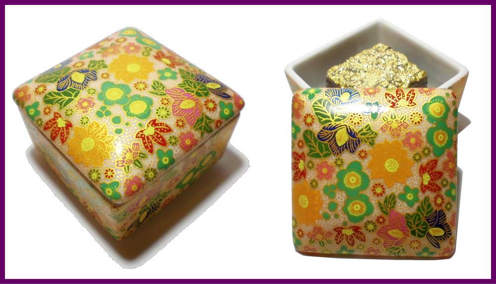 伝統工芸九谷焼 G-CUBE 香箱 香り箱 花詰 緑色