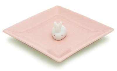 陶器香皿&ウサギ香立 (ピンク)