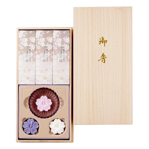 宇野千代のお線香淡墨の桜桐箱浮きローソクセット
