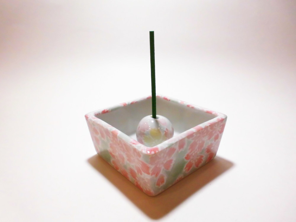 伝統工芸 美濃焼 香彩器角型-桜