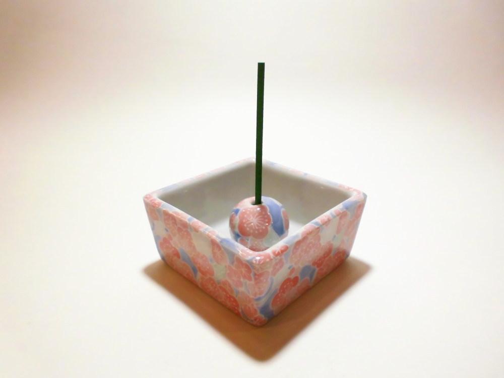 伝統工芸 美濃焼 香彩器角型-梅