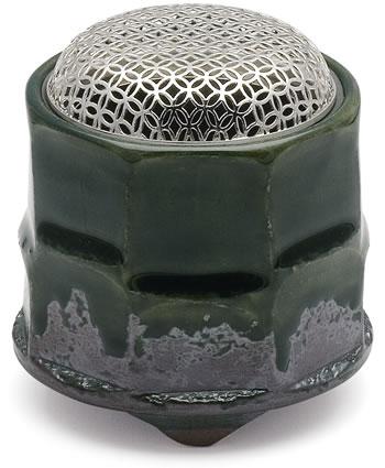京焼 織部筒型香炉